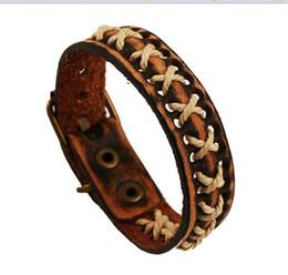Wholesale Wide Vintage Leather Belt - Belt Wide Wrap real leather bracelets Bride handmade vintage bracelets for men and women christmas gift 12pcs lot hy3283