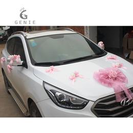 Wholesale Wedding Cars Flowers Set - Genie Artificial Flowers Car Decoration Sets Wedding Pompoms Silk Flower Foam Pearl Garland Diy Wreath Wedding Accessories Cheap