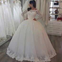 Wholesale Dresses For Brides - Trendy Long Sleeve Sheer Wedding Dresses Sequins Lace Saudi Arabia 2018 Plus Size Train vestido de noiva Bridal Gown Ball For Bride