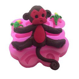 Wholesale Silicone Monkey Mould - 3D Christmas Silicone Molds Decor Creative Cute Animal Series Monkey Silicone Mold Fondant Mold Cupcake Cake Decoration Tool Monkey 3.5""