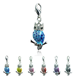 Wholesale Mixed Owl Order - Hot Sale Fashion Floating Charms Lobster Clasp 5 Color Rhinestone Owl Charms DIY Accessories Jewelry Mix Order
