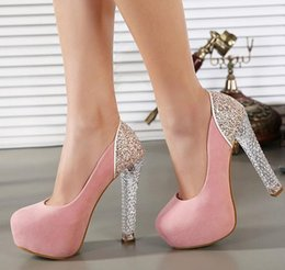 chunky mary jane shoes Promo Codes - Bright Glittering Glorious Baby Pink Gold Sequin High Heels Mary Jane Strappy Shoes