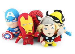 Wholesale Wholesale Iron Man Movie - 5pcs set Marvel The Avenger Plush Dolls Iron man Spiderman Captain America Wolverine Plush Toy