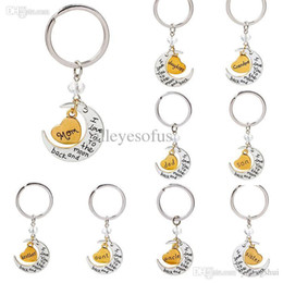 Wholesale Mom Keychains - Wholesale-2015 New souvenir Silver Gold Plated Love Heart I love you to the moon and back Keychains Mom llaveros chaveiro Car key holder
