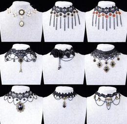 Wholesale Lace Flower Fashion Necklaces - High Quality Mix Styles Black Flower Lace Choker Short Necklace Lolita Gothic Steampunk Jewelry Fashion Necklaces For Women 2015