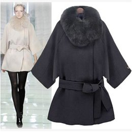 Wholesale Natural White Fur Cape - 2017 Long Wool Coat Fashion Women Winter Fur Trench Coat Plus Size Sexy Long Sleeve Cape Coat Lapel Fur Collar Jacket Outerwear W81
