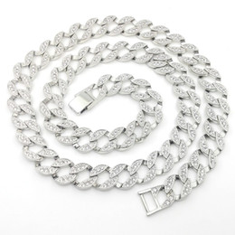 Wholesale Wedding Tennis - 14K White Solid Fine Gold FINISH Iced Out CUBAN Miami Chain Link Micro Pave Lab Diamond Necklace Long 30INCH 15MM Wide