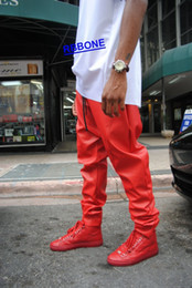 Wholesale Women Leather Overalls - Wholesale-KANYE WEST LEATHER PANTS Joggers Men's 2015 New Arrival Man Women Mens Hiphop Hip Hop Swag Red Leather Overalls Pants Jogger