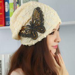 Conception de chapeau de robe en Ligne-Gros-luxe papillon modèle Design Fashion Hat Hnitted pour les femmes Wild Dress Beanie