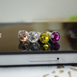 Wholesale Cell Phone Charms For Iphone - Wholesale 5000pcs lot Diamond Dust Plug Universal 3.5mm Cell phone plug charms cap For iphone 4s 5s 5c 6 7 samsung note 3 S4 ipad mini dp03
