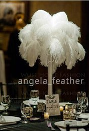 Wholesale Wedding Centerpiece Ostrich Feathers - FEDEX free shipping--500pcs lot 10-12inch WHITE OSTRICH FEATHER Plume ,high quality Wedding centerpiece table Decoration