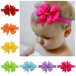 Wholesale Western Hair Headbands - 20 Color 8*8 CM Baby Girls Candy Color Bow Headbands Cute Children Fish Tail Hairpins Western Hair 200pcs lot