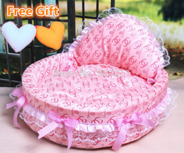 Wholesale Iron Pet Beds - 2015 HOT SALE luxury dog princess bed lovely cool dog pet cat beds sofa teddy house free heart pillow free gifts!