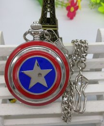 Wholesale Wholesale Unisex Watches America - New silver Captain America The Avengers Anime pocket watch for Men and women gift 10pcs lot FOB chain wholesale