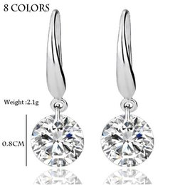 Wholesale Real Diamond Wedding - S925 sterling silver ring Real Solid 925 Sterling Silver Wedding Engagement Earring 2Ct Princess Cut Created Diamond Jewelry Wholesale Free