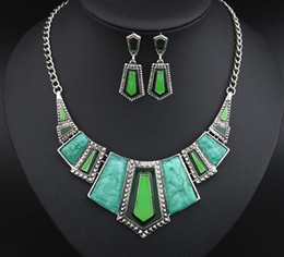Wholesale Wedding Gifts Jewellery - Jewelry Sets For Women Artifical Stone Enamel Necklace Earrings Sets Four Colors Statement Necklace Fashion Jewellery Set