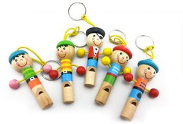 Wholesale Wooden Whistles Wholesale - Whistle Wooden Hat Cartoon Animal Children Gift Education hang Wedding Party Brand New Good Quality Free Shipping