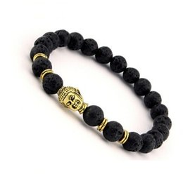 Wholesale Tigers Eye Skull Bracelet - Black Natural Stone Beads Skull Bracelets For Men Women Male 8mm Orologio Tiger Eye Bracelet Jewelry Erkek Bileklik-J581