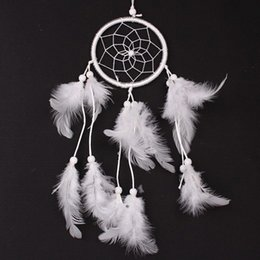 Wholesale Forest Net - Creative DIY Dream Catcher Net Antique Imitation Enchanted Forest Wind Chimes White Feather Wall Hanging Dreamcatcher New 5 5wt B