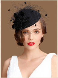 Wholesale Sinamay Cocktail Hat - Fashion Cocktail Hats High Quality Elegant Ladies Wedding Hats Fascinators Black Party Cocktail Hats Bridal Hats Free Shipping