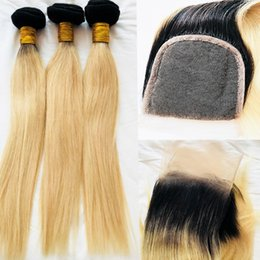 Wholesale Queen Hair Pieces - Blonde brazilian hair 1B 613# straight ombre human hair extension with lace closure queen virgin hair
