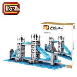 Wholesale Tower Bridge Model - LOZ Tower Bridge Educational Building Blocks Toys 3D Model ABS Diamond Building Blocks 9371