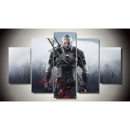 Wholesale Oil Painting Hunting - 5 Panels witcher 3 wild hunt Modern Abstract Canvas Oil Painting Print Wall Art Decor for Living Room Home Decoration(Unframed Framear