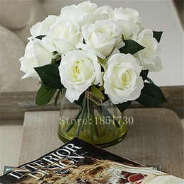 Vaso de decoração bonita on-line-50 pçs / lote fresco melhor venda rose diy decoração de casamento mesa de hotel vaso de simulação de simulação de seda artificial rosa bonita flores