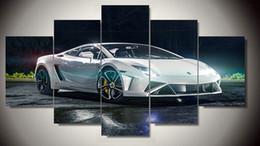 Tela verniciata auto online-Decorazione murale moderno bianco sport Car Group stampa Quadro murale stampa artistica stampa Quadro su tela dipinto con cornice F / 1122