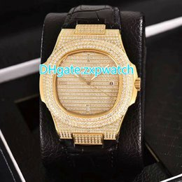 Wholesale Crystal Case Glass - Automatic 2813 full iced out watch gold case with leather strap glass back sapphire crystal shiny diamonds fashion luxury watches