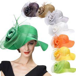 Wholesale Blue Races Dress - Lawliet Wide Brim Womens Satin Crin Feather Veil Flower Church Derby Race Tea Party Dress Hat A433