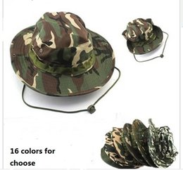 Wholesale Wholesale Sun Protection Hats Men - Cotton bucket hat for men 2015 Fashion Military Camouflage Camo Fisherman Hats With Wide Brim Sun Fishing Bucket Hat Camping Hunting Hat