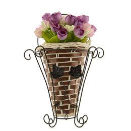 Wholesale Bamboo Plants Vase - Weave Vine Mural Wall Hanging Artificial Flower Plant Basket Flower Arrangment Home Table Decor New