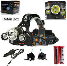 Wholesale Dual Lamp - 5000LM 3X CREE XML T6 LED Headlamp Headlight 4 Mode Head Lamp +AC Charger +2*18650 battery +18650 dual Charger for outdoor Sport
