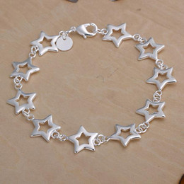Wholesale Singapore Star - Free shipping, European and American fashion exquisite 925 sterling silver bracelet Ms. stars