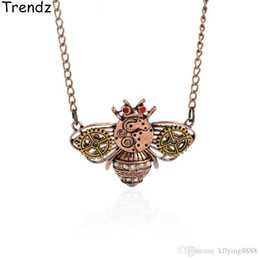 Wholesale Vintage Honey - Steampunk Jewelry Bumblebee Honey Bee Charm Pendant Necklace Gold Gears Watch Parts Vintage Antiqued Style STPK15003