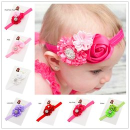 Wholesale Cheap Hairbows - 12pcs baby hair bows flower headband Baptism Gift Cheap Hairbows elastic hairband Little Girls Hair flower hairbows