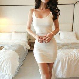 Wholesale Long Tank Top Xxl Women - Free Shipping Women Summer Spaghetti Strap Long Tank Top White Layering Mini dress Size S M L XL XXL W050-W058