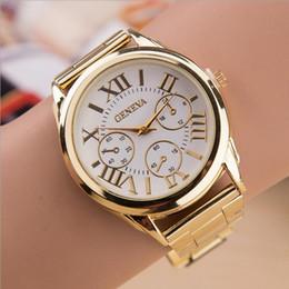 Wholesale Golden Geneva Watches - New Women's Luxury Geneva watch Roman Numerals Golden Alloy Stailess Steel Wristband sport men Analog Quartz Wrist Watch