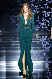 Wholesale Teal Orange Prom Dress - 2016 Zuhair Murad Teal Blue Sexy Deep V-Neck Long Sleeve Sprakling Sequins Beaded Front SplitCelebrity Red Carpet Prom Evening Party Dresses