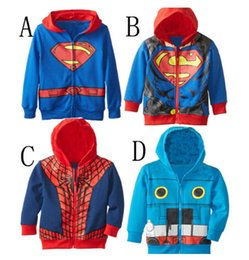 Wholesale Kids Superman Winter Coats - New Popular Superman Boys Cartoon Children Hoodies Sweatshirts Kids Clothing Spider-man Casual Coat Cotton Sportswear hot
