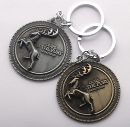 Wholesale House Digital - NEW Hot Cartoon Game movie Key Car keychian Game of Thrones House Baratheon badge keychain wedding favors keychain cc123