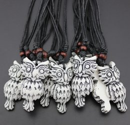 Wholesale Owl Totem - Jewelry Wholesale LOTS 12 pcs Imitation Bone Carved Tribal style totem Owl pendant necklace Gift mn451