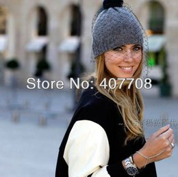Wholesale News Caps - Wholesale-Free shipping! 2015 News fashion United Kingdom style women veil beanies hat knitted black winter female veil face caps hat