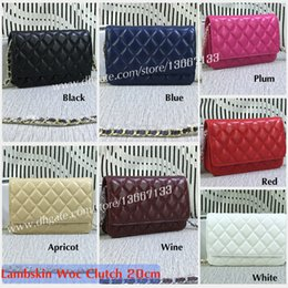 Wholesale Chocolate Diamonds - 2018 Fashion Women's Crossbody Bags 20cm Black Lambskin Caviar Leather Quilted Woc Clutch Female Small Flap Shoulder Bags 33814