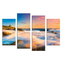 Wholesale Framed Art Ideas - 4PCS nature art sunset seascape waves Wall painting print on canvas for home decor ideas paints on wall pictures art No framed