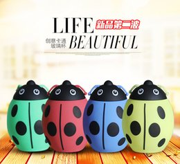 Wholesale Thermos Cups For Coffee - 2017 New 320ML Creative Ladybug Water Glass Handy Cup Tea Coffee 4 Colors Tumbler Thermos Cup Water Bottles For Kids Gifts