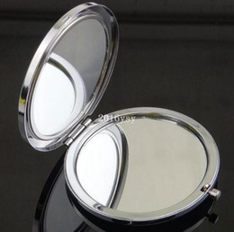 Wholesale Double Compact - 500PCS Metal Pocket Mirror Makeup Fold Round Crystal Compact Mirror Portable Cute Metal Double Side Mirror Wedding Gifts 12Color #sl1141