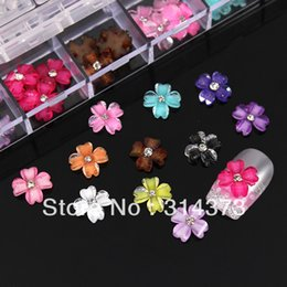 Wholesale Heart Acrylic Nails - 60pcs Glitter Four Heart Shape Petals Flat Back Flowers Rhinestones Acrylic Nail Art Salon UV Gel Tips Decoration With Box