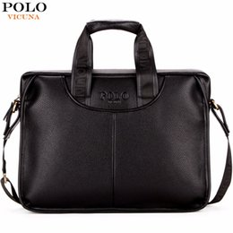 Wholesale Office Men Leather Bag - VICUNA POLO Classic Design Large Size Leather Briefcases Men Casual Business Man Bag Office Briefcase Bags Laptop Bag maletin